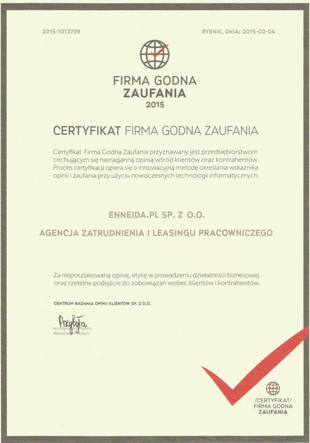 Сертификат Компании с Хорошей Репутацией